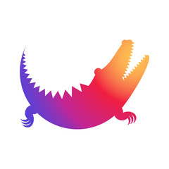 Crocodile rainbow icon made of circles. Vector illustration