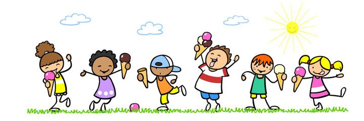 Cartoon Kinder essen Eis im Sommer