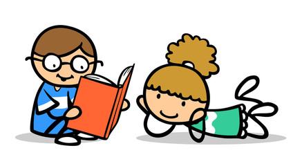 Junge und Mädchen beim Buch vorlesen