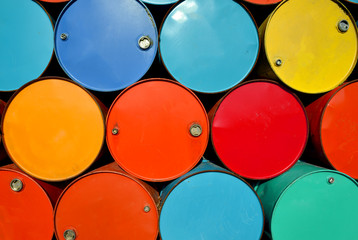 colorful of old oil tanks.