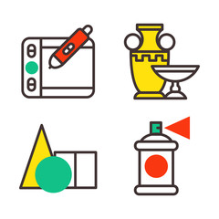 Set of art icons in flat design camera picture brush palette entertainment symbols and artist ink graphic color creativity movie collection vector illustration.