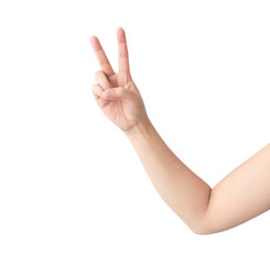 Young woman hand show V sign with white background