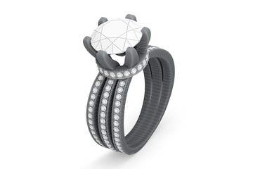 Jewelry ring with diamonds 3D rendering in wireframe