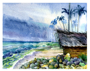 House, sea, palm trees, watercolor