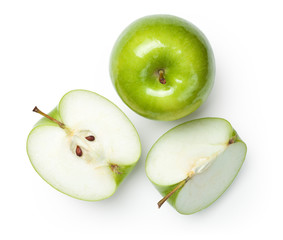 Granny Smith Apples on White