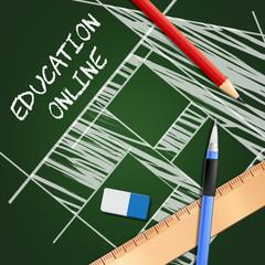 Education Online Meaning Internet Learning 3d Illustration