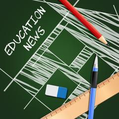 Education News Indicates Social Media 3d Illustration