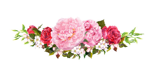 Pink peony flowers, roses, white apple or cherry flowers. Watercolor in vintage style