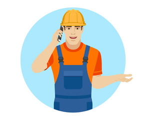 Builder talking on the mobile phone and gesturing