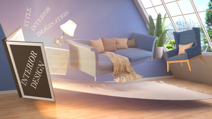 The concept of creating interior design. 3d illustration