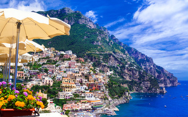 Aluminium Prints Sea Luxury Italian holidays - beautiful Amalfi coast, Positano