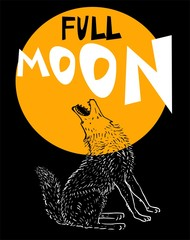 Howling wolf at the full moon, illustration