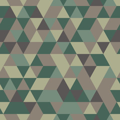 Khaki seamless pattern with triangular protection ornament