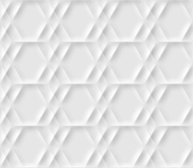 Seamless pattern with hexagonal cells made from shadows and lights in origami style. White repeating background.