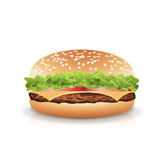 Fast Food Realistic Burger Vector. Hamburger Fast Food Sandwich Emblem Realistic Isolated On White Background Illustration