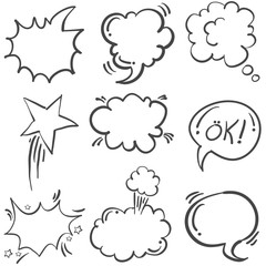 Doodle of text balloon hand draw set