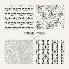 Set of samless doodle floral and art deco patterns.