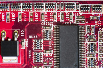Close up of Electronic Circuits in Technology on  