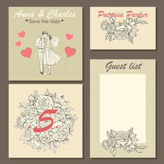 Set of wedding invitation cards with a hand-drawn floral pattern and a cute illustration of a couple in cartoon style.