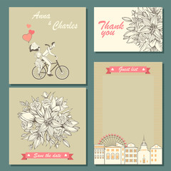 Set of wedding invitation cards and labels with a hand-drawn floral pattern and illustration of a couple on a bicycle. Templates