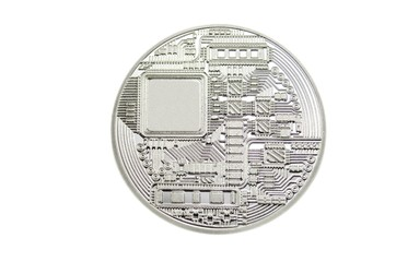 Shiny Bitcoin coin on clear white background