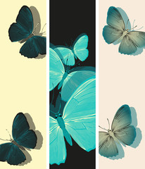 set of bookmarks with graphic blue butterflies patterns