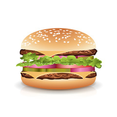 Fast Food Realistic Burger Vector. Hamburger Icon With Meat, Lettuce, Cheese And Tomato. Isolated