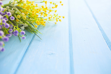 Colorful yellow, white and lilac spring flowers on blue painted wooden planks.