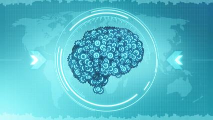 HUD brain - 3D render of cogwheel brain in target-style computer display