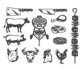 Set of vector black grill and barbecue icons isolated on white