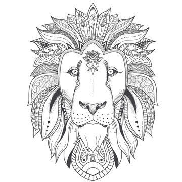 illustration of lion with tribal mandala patterns. Use for print, t-shirts.