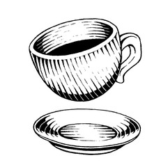 Vectorized Ink Sketch of a Coffee Cup