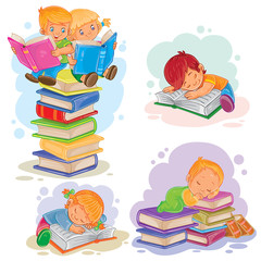 Set of icons of small children reading a book