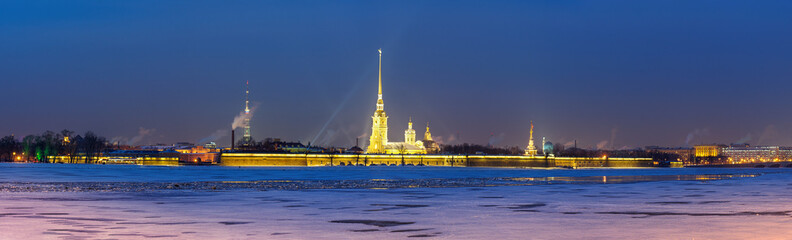St Petersburg panorama, evening view on the Peter and Paul Fortress