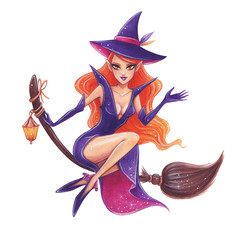 Halloween hand-drawn illustration. Cute Witch on the broom.