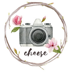 Watercolor photographer illustration with vintage photo camera,wreath of branches and magnolia flowers. Hand drawn spring logo isolated on white background.