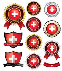 Made in Switzerland Seal, Swiss Flag (Vector Art)