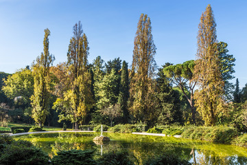 Rome, Italy. Villa Borghese: beautiful pond with a fountain