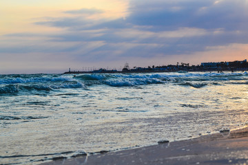 Seashore in the evening at sunset. Cyprus. Ayia Napa