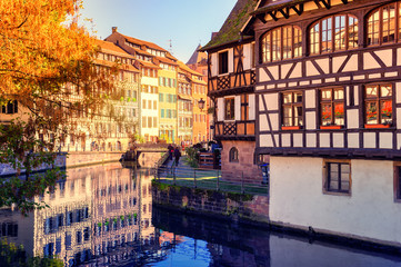 Autumn cityscape of Strasbourg with half-timbered houses. Alsace, France