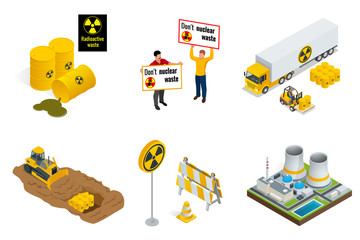 Isometric set of Radioactive waste elements. People protest, barrels, transportation, power station or reactors, tractor digs in drums with radioactive waste. Flat 3d vector isometric illustration.