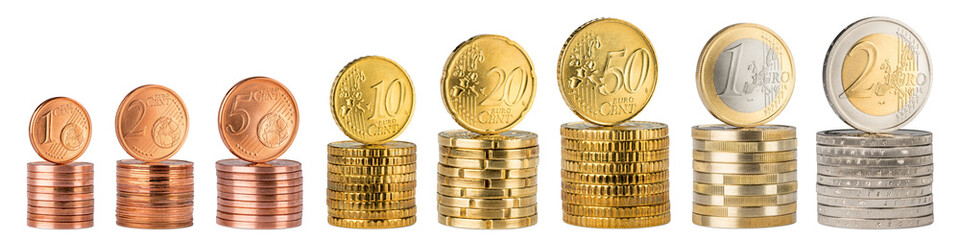 complete row of euro coins stack row panorama isolated on white background