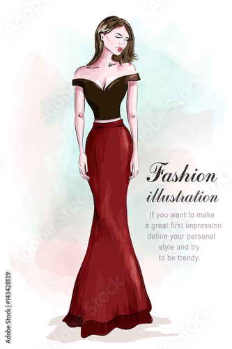 63d833bc03 Fashion beautiful woman in romantic evening dress. Sketch. Girl in fashion  clothes: red