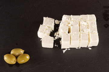 Feta cheese with olives.