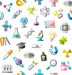 Science, background, seamless, color, white, vector. Colored flat icons on a white field. Different types of scientific activities. Colored, flat background.