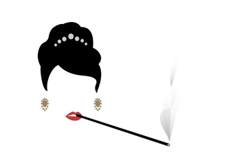 portrait retrò woman, diva who smokes his cigarette holder, vector illustration