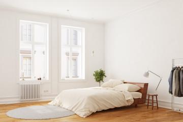 Bett im Schlafzimmer am Tag