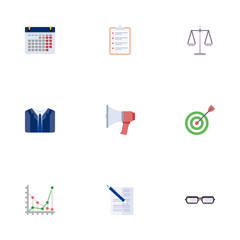 Flat Diagram, Calendar, Goal And Other Vector Elements. Set Of Career Flat Symbols Also Includes Goal, Document, Task Objects.