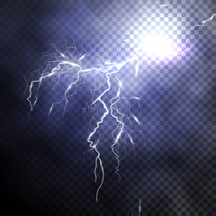 Lightning discharge in the expressive night sky with cloudiness. Thunderstorm, tempest, bad weather. Isolated object on a transparent background. Realistic vector illustration of EPS10.