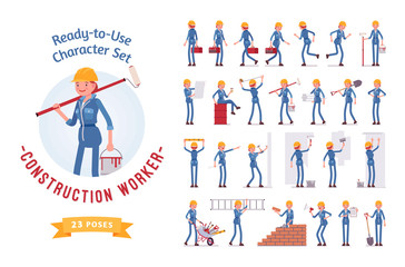 Ready-to-use young female worker character set, various poses and emotions